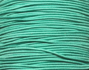 Roll 100 metres approx - wire cord 1 mm Turquoise emerald green elastic fabric