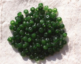 30pc - beads - faceted Rondelle 4x2mm Olive Green Jade - stone 4558550005427