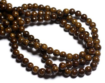 20pc - beads - Jade balls 6mm Brown ochre - 4558550024800