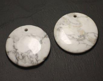 1pc - semi precious stone pendant - 45mm - 4558550031167 round Howlite