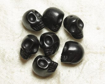 5pc - beads skulls Turquoise 18mm black 4558550025883 synthesis skulls