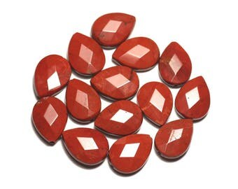 2PC - stone beads - red Jasper drops faceted 18x13mm - 8741140019669