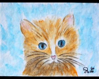 watercolor original watercolor aceo kitten