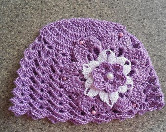 Purple baby Hat large crochet cotton flower
