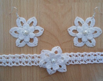 set made with cotton flowers with pearls CROCHET.fleur