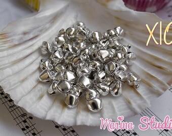 set of 10 mini bells silver shiny 1 cm