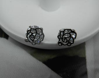 The Crystal roses (earrings) silver