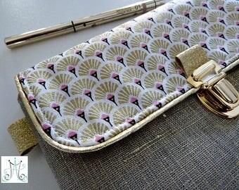 School bag - Art deco clip Golden linen pouch