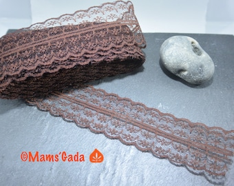 Lace / trim 45 mm wide color brown chocolate-sold by the yard