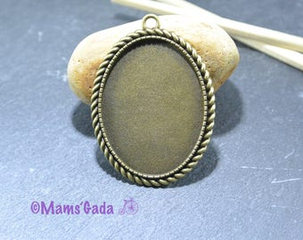 Pendant cabochon oval for Cabochon 30x40mm REF:B Bronze color Support / 85