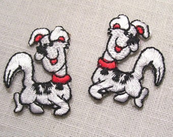 SET of 2 dogs - patch embroidered patch Thermo * 3,5 x 4,5 cm *.