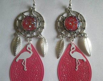 Pink Flamingo earrings catch dreams