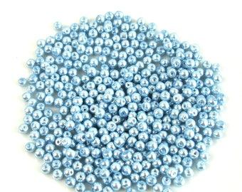 100 4 mm blue gray Pearl effect glass beads