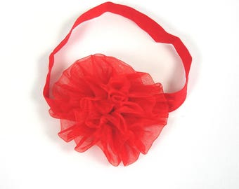 RED flower baby size elastic headband