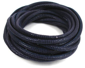 Leather cord nappa dark blue X 20 cm scales effect