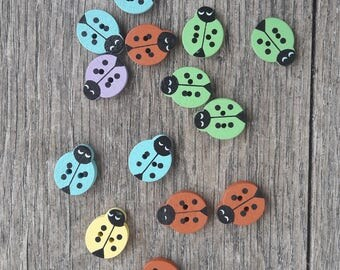 Promo: Random mix of 14 wooden buttons, ladybugs, green, Brown, purple, yellow, blue / / ID N10