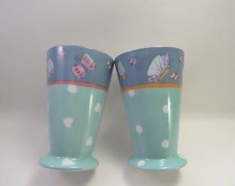 Motives butterflies hand painted porcelain mugs