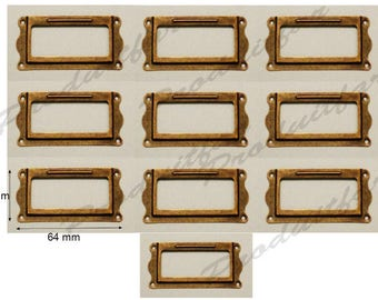 Set of 10 label color Bronze filing drawer furniture business locker 64 * 31