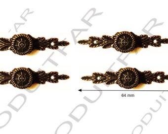 Set of 4 handle button color Bronze darkened filing drawer cabinet de craft locker 64 x 14 mm