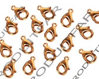Set of 30 clips color Rose Gold Pendant Necklace jewelry 12 mm lobster clasps
