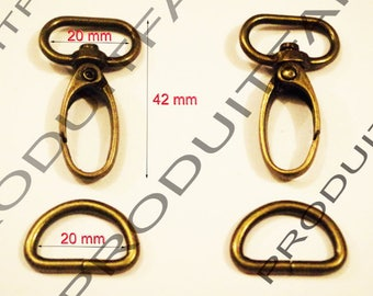 2 + 2 rings for 20 MM Maxi tote bag straps Bronze lobster clasps.