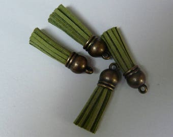 Green tassel suedine 38mm bronze