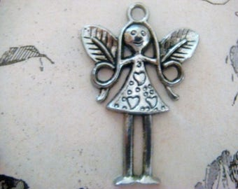 LARGE fairy charm - girl in silver