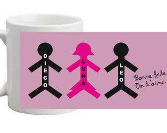 CERAMIC MUG SILHOUETTE (S) customized with the number of children and their (first name (s)
