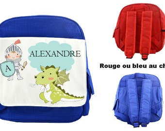 """BACKPACK CHILD """"KNIGHT"""" PERSONALIZED WITH CHILD'S NAME"""