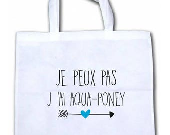 """INTISSEE CANVAS TOTE BAG """"I CAN'T I HAVE AQUA PONY"""" PERSONALIZED"""
