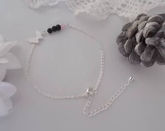 LOUANE ☀ ☀ METAL BRACELET SILVER BLACK ONYX BEADS AND PINK CAT EYE