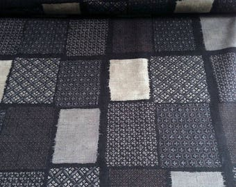 Japanese fabric, traditional, black and beige, cotton 110 x 50 (174)