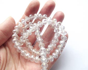 New! 70 clear faceted Crystal rondelles 6 x 8 mm star-163