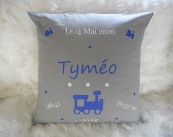 custom birth announcement pillow 40 x 40 cm grey