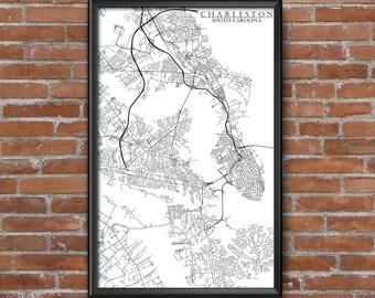 Charleston, South Carolina Map Art