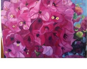 Painting sold Al oil bougainvillea flowers