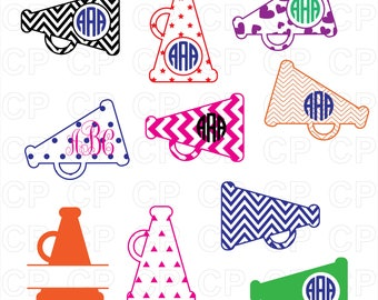 Megaphone SVG Cut Files, Megaphone Clipart, Megaphone Monogram Frames Cut Files for Cricut, Silhouette Studio_Digital Download