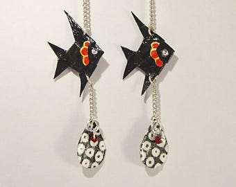Pair of earrings Origami papers Sakana laklak 漆