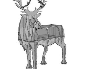 DIY. Deer in the form of a floor shelves, Drawing, Template, pattern Outdoor , self-sawing, carving, CNC, jig saw, laser. 3D.For creativity.