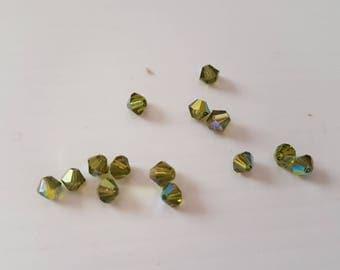 4MM green Olivine AB bicones