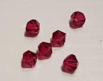 4MM Ruby Red Swarovski Crystal bicones