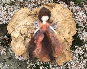 Handmade Earthy Brown, Orange and Beige Needle Felted Wool Fairy