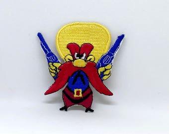 1182 yosemite sam red headed cartoon iron sew on embroidered patch - Yosemite Sam Halloween Costume