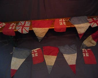 Old Authentic Vintage Military WWII Union Jack British Bunting Flags