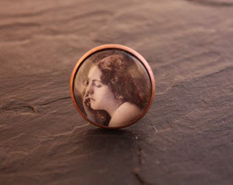 retro portrait glass cabochon ring