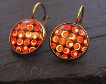 70's glass cabochon Stud Earrings