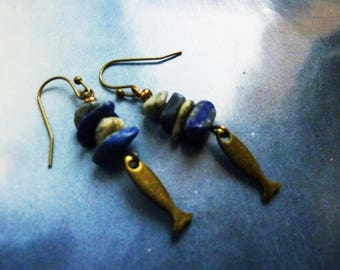 Bohemian earrings rustic boho gemstone sodalite and little fish chips