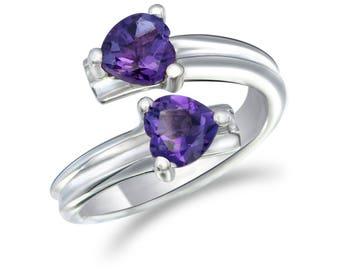 Amethyst Double Heart Ring