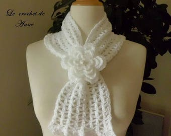 White scarf slide, adorned with a flower brooch!