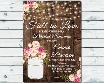 Falling in Love Bridal Shower Invitation, rustic fall in love bridal shower invite, Wood rustic Falling in love bridal shower 1049